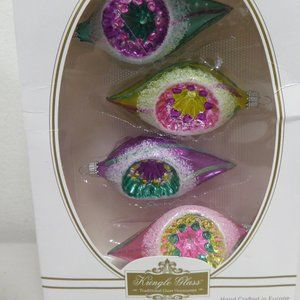 new Kringle Glass Kurt Adler BOX  of 4 ornaments